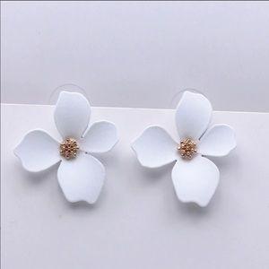 Petal Stud Statement Earrings in White
